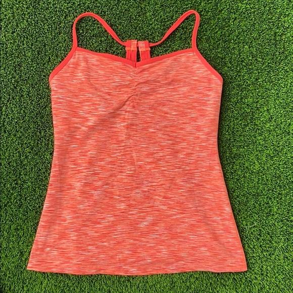 Orange and white v neck shelf bra tank top